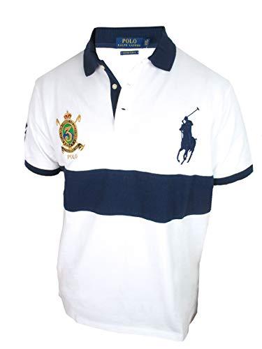 Ralph Lauren Kurzarm Polo - Weiß mit dunkelblauem Balken (L)