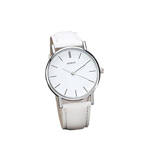 Zolimx Damen Retro Entwurfs Leder Band analoge Quarz Armbanduhr (Weiß)