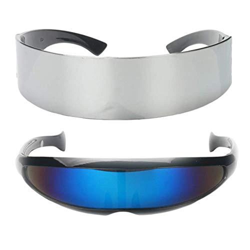 SeaStart Set von 2 lustigen einteiligen einteiligen Metallic-Silber schmal blau futuristisch Soldat Weltraumroboter Halloween Verkleiden Party Brille Requisiten