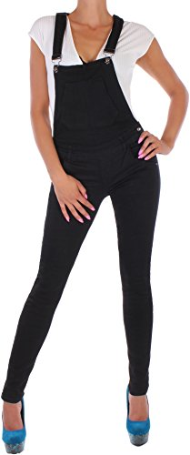 BD Damen Jeans Röhre Latzhose Jumpsuit Overall in schwarz (36/S)