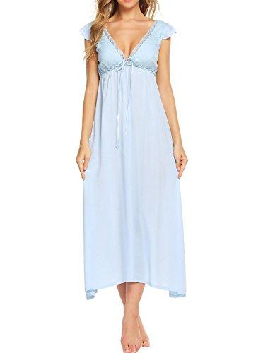 Imposes Damen Schlafhemd Viktorianisch Nachthemd Lang Nachtshirt Hauskleider Sommer Nachtkleid Lockeres Kleid V Ausschnitt Rückenfrei Sleepshirt mit Spitze Weiß Blau Rosa (Blau Rosa Bettdecken Und)