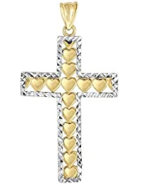 14K Amarillo Oro Blanco Brillante Diamante Fancy Cruz con Corazón Colgante
