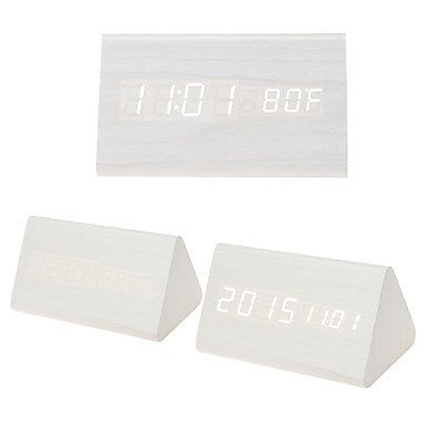 MGS-l'horloge@Triangle lumineux blanc double écran horloge LED en bois w / radio-réveil, température , white oak