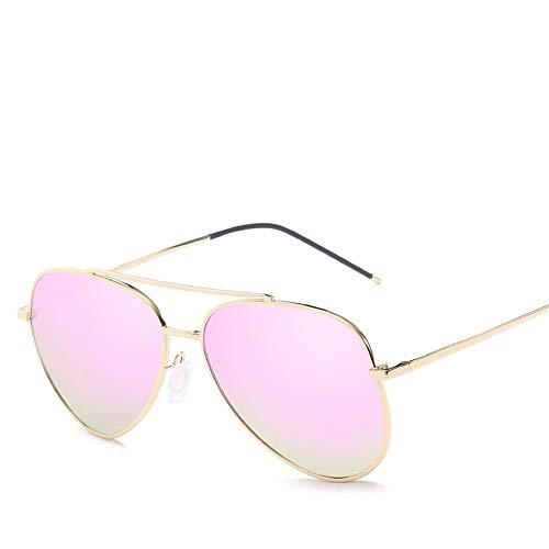 Easy Go Shopping Sporting Outdoor Seaside Sonnencreme UV400 Damen Polarisierte Sonnenbrille Trendy Sonnenbrille Großer Rahmen Sonnenbrillen und Flacher Spiegel (Color : Apple Powder)