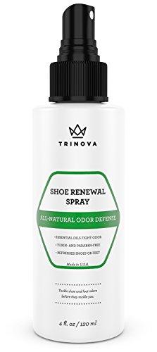 Deodorante Scarpe Naturale - Spray Sicuro per Combattere Odore di Piedi, Scarpette, Calzini e Altro. Elimina gli odori di sudore con estratti puri di albero del tè, menta e olio di timo. 118 ml - TriNova