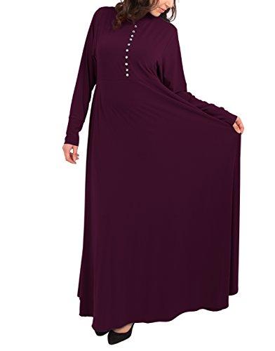 Marokkanische Kleidung Für Frauen (Rhinestone Button Abaya - Plum 8 52)