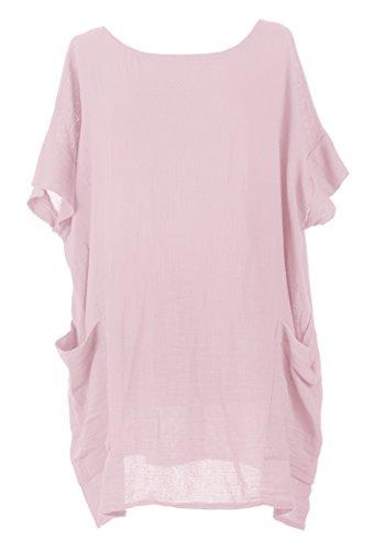texture-online-ladies-women-italian-lagenlook-quirky-plain-batwing-short-sleeve-2-pocket-textured-li