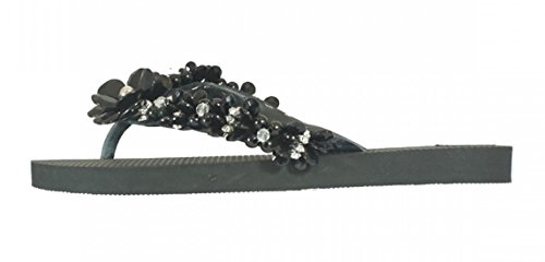 Designer de luxe Tongs kurochan Clas DonRegaloWeb exclusivas by Simone Herrera de Flora de Line Lena de parement Tongs Sandales Multicolore - negro/schwarz