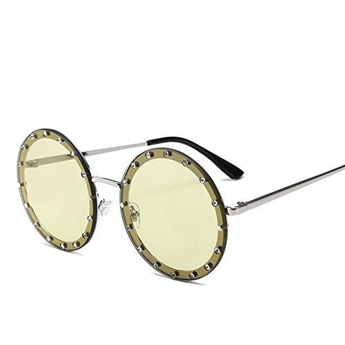 MoHHoM Sonnenbrille Oversized Runde Niet Designer Sonnenbrille Frauen Vintage Metallrahmen, Klare Gläser Sonnenbrille Pink Gelb Blau Brille Silber Grün