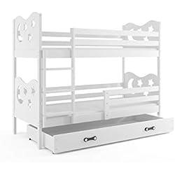 Lit superposé Miko 190x90 avec matelas sommiers et tiroir en blanc (blanc+blanc)