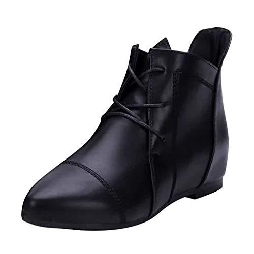 Damen Stiefeletten Kurz Stiefel Boots Schlupfstiefel Schuhe Erhöht Einlegesohle Kurzschaft Boots Schnürstiefeletten mit Blockabsatz (EU:36, Schwarz)