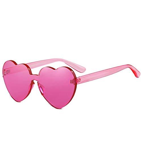 Alvndarling Herzförmige Sonnenbrille Damen rot/braun/pink/gelb/grau/schwarz Sonnenbrille Anti-UVAUVB (Farbe : Rosa)