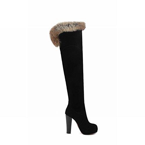 Mee Shoes Damen high heels inner Plateau Nubukleder Stiefel Schwarz
