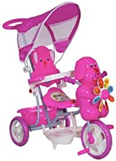 SP Traders Cute Dog Tricycle with Canopy and Push Handle Steering System for Kids (Pink)