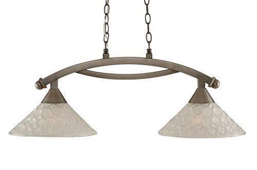 Toltec Lighting 872-BN-441 Bow 2 Light Island Light with 12 Italian Bubble Glass, Brushed Nickel Finish by Toltec Lighting - Light Nickel Island