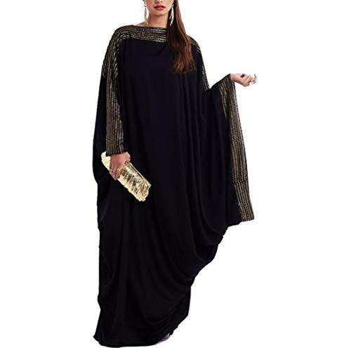 zhxinashu Islamische Kleidung Frauen Maxi Kleider - Muslimische Gebet Kleid Abaya Dubai Kaftan Fledermaus Ärmel Elegant (M)
