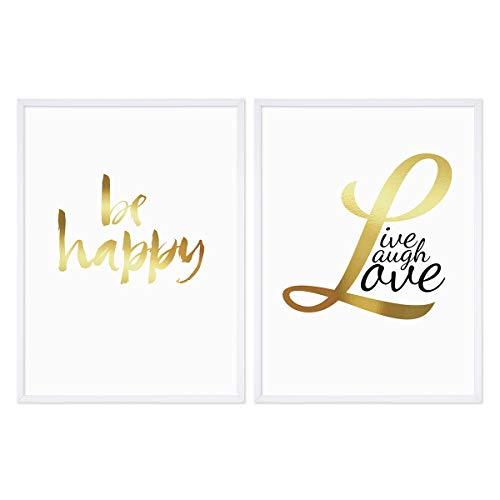 PHOTOLINI 2er Set Golddruck-Poster No.34 mit Bilderrahmen Weiss 30x40 cm Typografisch Spruch Live Laugh Love Happy