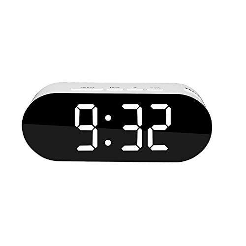 Ao Tuo Kreative Led Uhr Thermometer Plug-In Dual USB Kosmetikspiegel Wecker Tischuhr Geschenk Led Spiegel Uhr mit Schlummerzeit Temperatur Funktion für Schlafzimmer und Büro