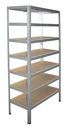 shelfplaza® HOME Étagère charge lourde métallique galvanisé de 180x50x30 cm avec 7 tablettes - entrepôts garage grenier atelier maison