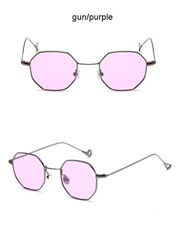 Aprigy Steampunk Polygon-Form-Sonnenbrille-Frauen-M?nner Weinlese-Luxus-Marken-Entwerfer-freie Objektiv-Sonnenbrille Hexagon Metallrahmen Brillen [Gold Lila]