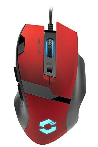 Speedlink VADES Gaming Mouse - Beleuchtete 7 Tasten Gaming Maus mit USB für Büro/Home Office (Optischer Sensor bis 2400 dpi - Interpollierbar bis 4800 dpi) für PC/Notebook/Laptop, schwarz-rot