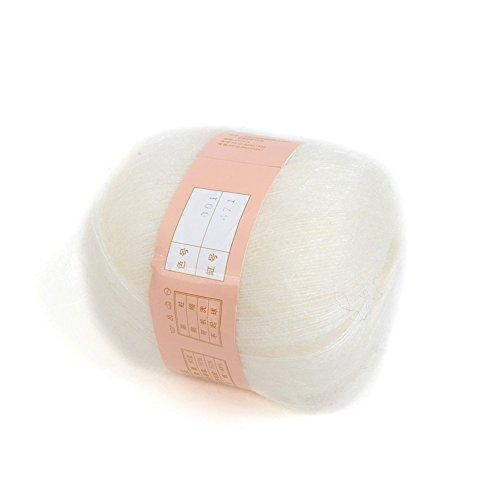 87_ solo Mohair Lana peluche linea speciale Mohair Maglione tessitura, White 1pcs, 5