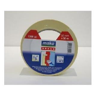 mako Klebeband Krepp-Abdeckband Malerklebeband 50 m gelb 50 mm Breite