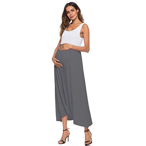 Pingtr - Damen Maternity Kleid Kurzarm,Maternity Kleid - Frauen Mutterschaft Sleeveless Geraffte Mantel Color Block Maxi Umstandskleid -