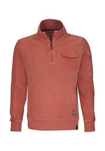 camel active Herren Troyer Sweatshirt, Rot (Red Core 43), Large