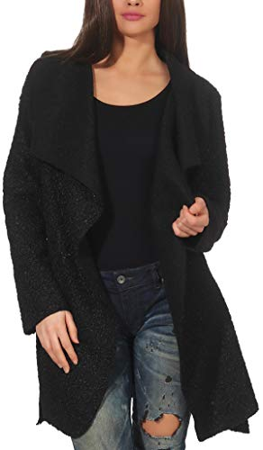 Malito Damen Wollmantel kurz | Boucle Wool | Trenchcoat mit Gürtel | weicher Dufflecoat | Parka - Jacke 9319 (schwarz) Kurzer Wollmantel