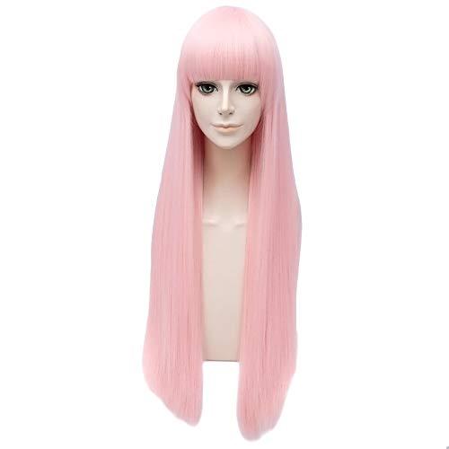ay Perücken Anime Liebling in der Franxx 31.2 '' / 80 Cm lange gerade rosa Haar Kostüm Cosplay Perücke synthetische volle Spitze Ersatz für Party Halloween ()
