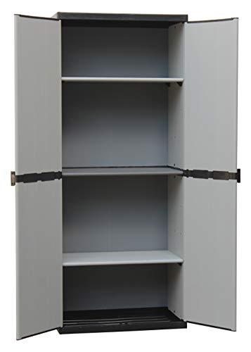 Adventa - Armario de Resina con estantes de 2 Puertas Interior/Exterior, Gris Negro, 68 x 39,5 x 168...