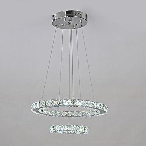 ASNSWDC® Perlas del Cuarteto K9 Crystal Con Doble Círculo Diseño Lámpara , White-220-240V