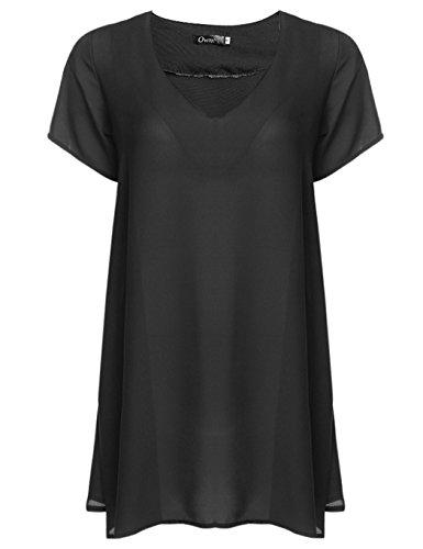 ZEARO Sexy Damen Blusen T-Shirt Sommer Hemd Shirt Chiffon Langshirt Tops Minikleid Schwarz
