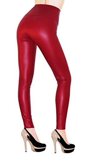 Sodacoda Ladies High Waist Stretch Faux Leather - Tight Leggings - Wet Look (Red, S)