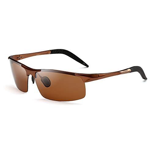 AMZTM Sportbrillen für Herren, Polarisierte TAC Linse, Ultraleicht Al-Mg Rahmen, Halb Randlose Brille zum Radfahren Laufen, HD Vision UV Schutz (Braun Rahmen Braun Linse)