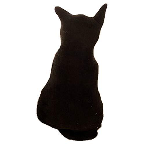 Amesii Süßes Katzenkissen, weicher Plüsch, Silhouette, Sofakissen, Sitzkissen, Geburtstagsgeschenk, 45 cm, Schwarz Black 30 Cm -