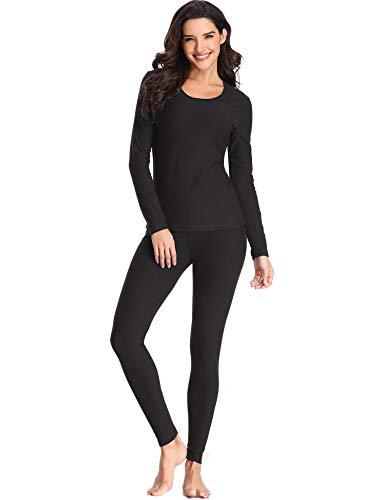 Lusofie Thermounterwäsche Set Damen Baumwolle Lange Unterhemd Unterhose Set für Herbst Winter (Schwarz, XL)
