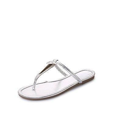 LvYuan Sandalen-Kleid Lässig-PU-Flacher Absatz-Komfort-Schwarz Silber Gold Silver