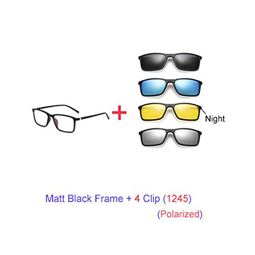 Sport-Sonnenbrillen, Vintage Sonnenbrillen, Multiclip Glasses Frame Clip On Magnetic Sunglasses Männer WoMänner Polarized Sunglases Square Sun Glasses Prescription A8806 1 Frame 4 Clip 1245