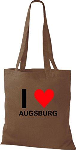 ShirtInStyle Stoffbeutel I LOVE AUGSBURG Deine Stadt diverse Farbe chestnut