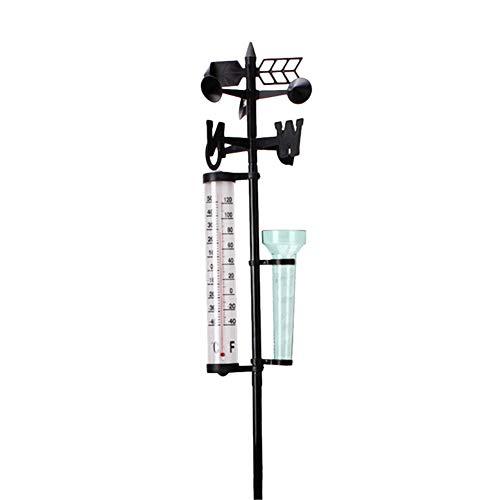 Naisicatar Durable Pflanze Zubehör Regen Spur + Thermometer + Wind-Anzeige im Freien Garten Wetterstation Meteorologische Vermesser Vane-Tool