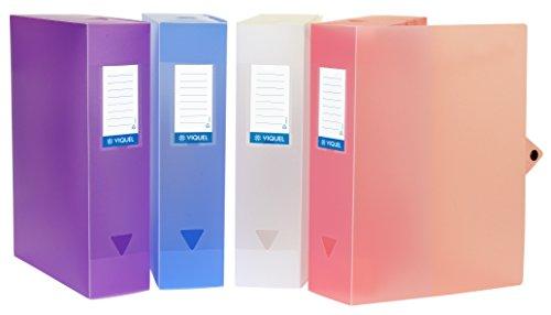 Viquel - Lot de 6 boites de classement en plastique - Lot 6 boites à archive grande capacité - Boites de rangement assorties - Dos de 80 mm