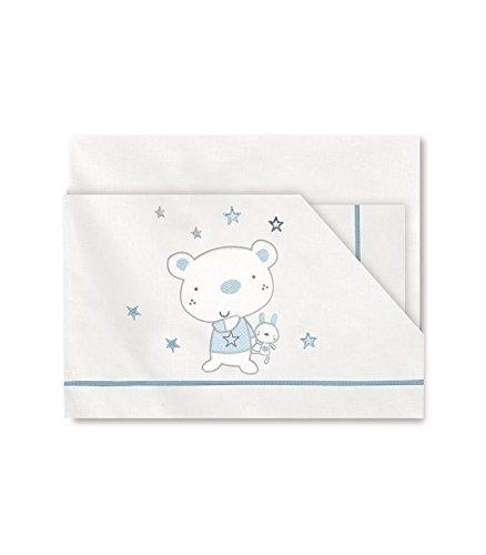 Pirulos 00113013 - Sábanas, diseño osito star, 50 x 80 cm, color blanco y azul