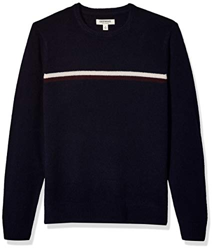 Goodthreads Lambswool Stripe Crewneck Sweater pullover-sweaters, Navy Red Chest, US S (EU S) -