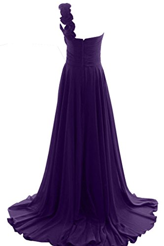 Ivydressing Damen A-Linie Neu Ein-Schulter Mit Blumen Chiffon Lang Festkleid Ballkleider Abendkleid Violett