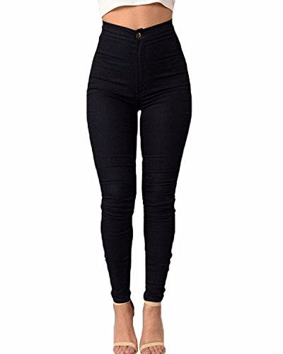 ZANZEA Donne Alta Vita Skinny Aderenti Party Club Elastico Disinvolta Slim Fit Pantaloni Nero IT 40/ASIAN XL