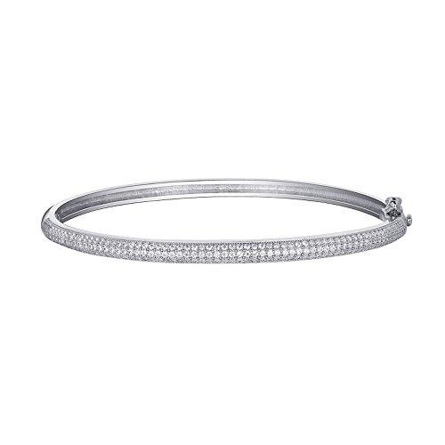 Bracelet Jonc en argent sterling arrondis Multi rangée pouvez Augmenter CZ Micro Mesdames