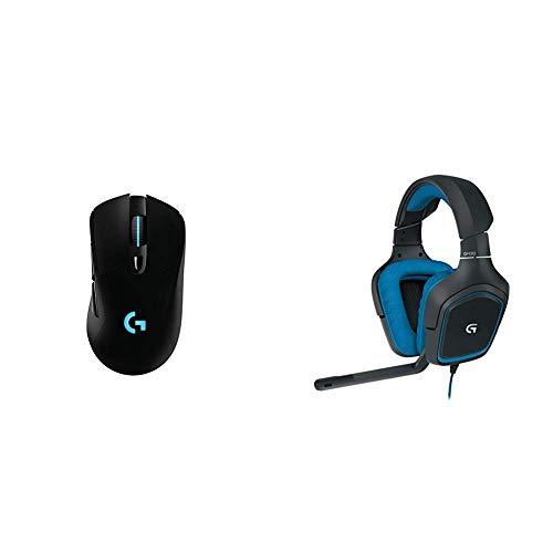 Logitech G703 Wireless Gaming Maus (mit kabelloser Powerplay-Aufladetechnologie und Lightspeed) & G430 Gaming Kopfhörer (Dolby 7.1 Surround Sound für PC ) blau -