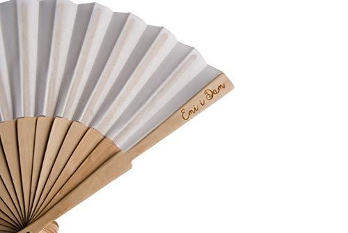ABANICOS PERSONALIZADOS 24 abanicos con impresión láser en la varilla de madera,...